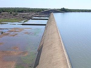Mzingwane River - Spillway of Zhovhe Dam, near Beitbridge.