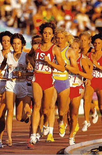 Zola Budd - Budd, Decker, and Puică leading the 3000 m race at the 1984 Olympics