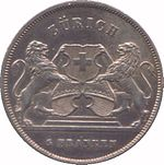Legend above two rampant lions flanking three shields, one bearing the Swiss Cross. Denomination below.