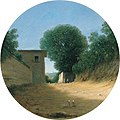 'Country Road by a House', oil on copper painting by Goffredo (Gottfried) Wals.jpg