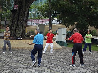 Adult development - Older adults doing Tai Chi.