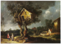 (Charles Cornelisz. de Hooch, Landscape with Travelers underneath a Dovecote, Monastery on the Right.png