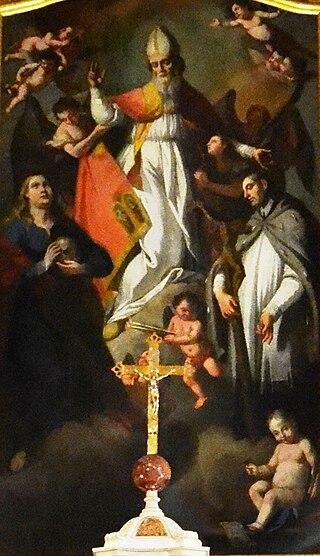 Św. Błażej w chwale między świętymi Marią Magdaleną i Janem Nepomucenem.jpg