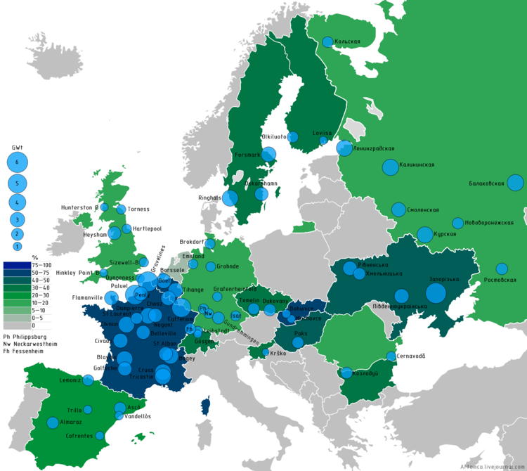 Nuclear Power By Country Wikipedia - Map of europe countries