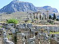 Древний Коринф, храм Аполлона, вид на Акрополь. Ancient Corinth, temple of Apollon - panoramio.jpg