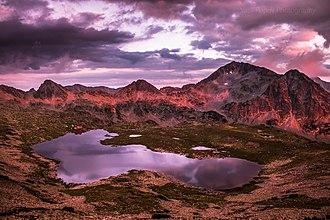 Pirin National Park - Sunset over Pirin's Tevno Vasilashko Lake, the largest and deepest of the Vasilashki Lakes