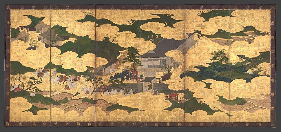 """平家物語図屏風-""""Kogō"""" and """"The Imperial Procession to Ōhara"""", from The Tale of the Heike (Heike monogatari) MET DP704877"""
