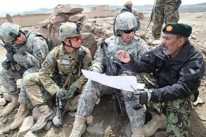 Army Combat Uniform - U.S. Army soldiers in May 2011, wearing the ACU in the Universal Camouflage Pattern, along with its replacement MultiCam pattern (second from left) in Paktika province, Afghanistan.