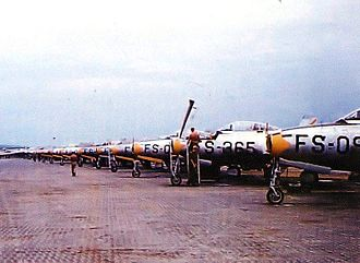116th Air Control Wing - 158th Fighter Squadron flightline at Tageu AB (K-2), South Korea June 1952.