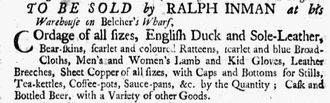 Ralph Inman - Image: 1750 Ralph Inman Boston Post Boy Oct 1