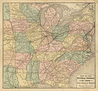 Pittsburgh, Cincinnati, Chicago and St. Louis Railroad - 1877 map