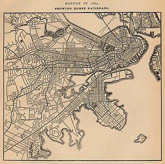 History of the MBTA - Image: 1880 Boston horse railroads map
