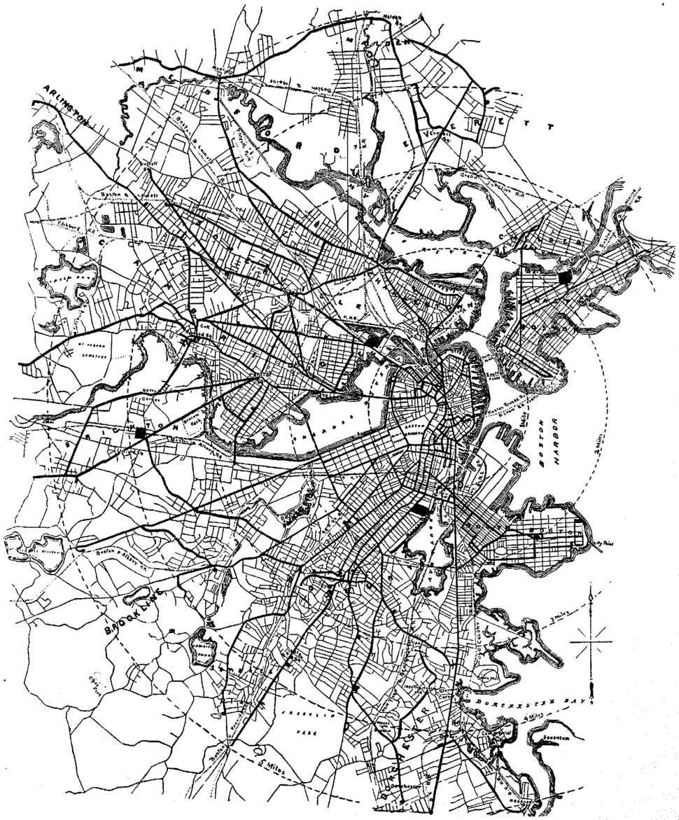 1885 West End Street Railway map