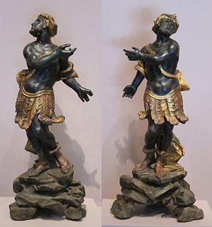 Blackamoors (decorative arts) - Pair of Italian figures in painted wood, 18th century