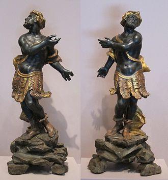 Blackamoor (decorative arts) - Pair of Italian figures in painted wood, 18th century
