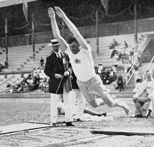 Standing long jump - Gustaf Malmsten during the standing long jump competition at the 1912 Summer Olympics