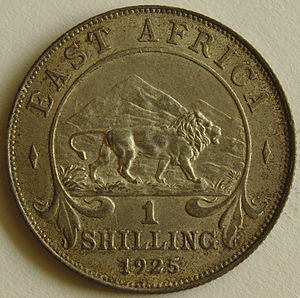 East African shilling - Image: 1925 East African 1 Shilling coin reverse