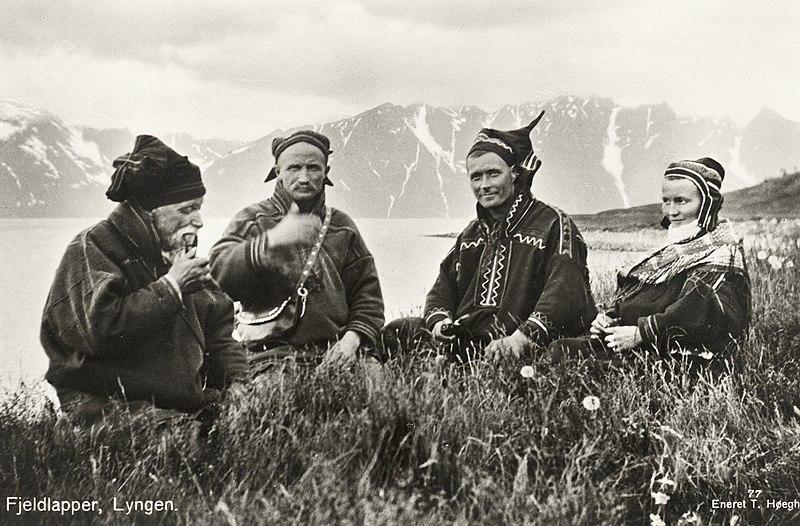 File:1928 Lyngen Troms Norway group Mountain Sami people Photo pcard.jpg