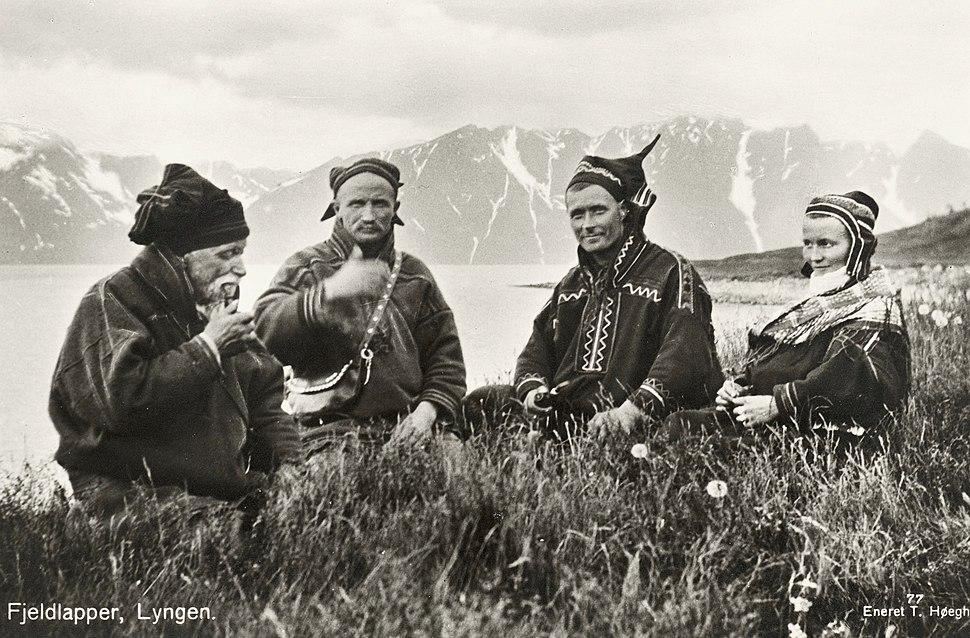 1928 Lyngen Troms Norway group Mountain Sami people Photo pcard