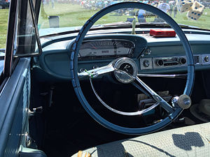 Brodie knob - Spinner added to the steering wheel of a Rambler Classic
