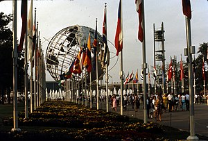 1964 New York World's Fair - View of the Unisphere with world flags