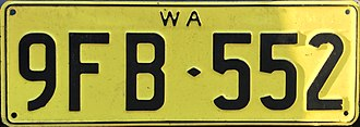 Vehicle registration plates of Western Australia - Image: 1978 Western Australia license plate 9FB♦552