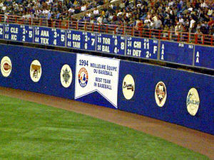 2004 Montreal Expos season - Banner raised during Montreal's final game in Olympic Stadium