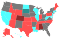 1996 United States Senate Election by Change of the Majority Political Affiliation of Each State's Delegation From the Previous Election.png