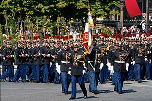 Bastille Day military parade - The 1st infantry regiment of the French Republican Guard.