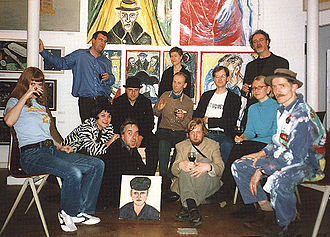 Stuckism - The first Stuckists group of 13 artists at the Real Turner Prize Show, Pure Gallery, Shoreditch, London, in October 2000