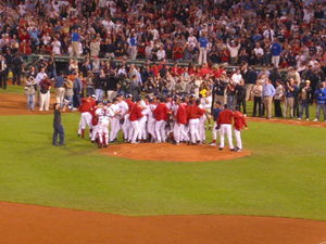 The Boston Red Sox celebrating their clinching...