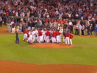 2003 Boston Red Sox season - The Red Sox celebrate their clinching of the 2003 AL Wild Card with a victory over the Baltimore Orioles.