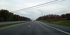 Maryland Route 210 - MD 210 northbound at its continuous-flow intersection with MD 228 in Accokeek