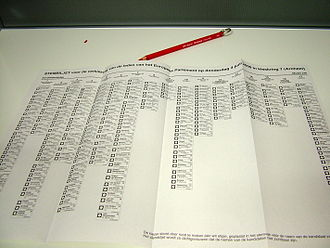 2009 European Parliament election in the Netherlands - Voting ballot