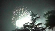 Opening ceremony fireworks finale, viewed from below Nanpu Bridge
