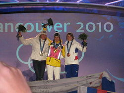 2010 Winter Olympics - Medalists for the Womens Pursuit Biathlon.jpg