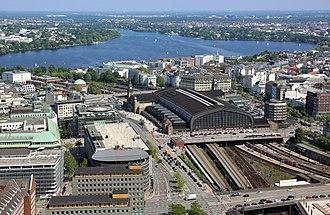 Hamburg Hauptbahnhof - Aerial view of Hamburg Hauptbahnhof