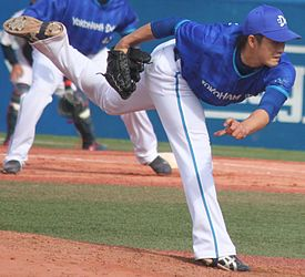 20130407 Shoma Sato, pitcher of the Yokohama DeNA BayStars, at Meiji Jingu Stadium.JPG