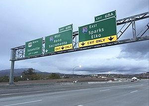 Interstate 580 (Nevada) - View north at the north end of I-580