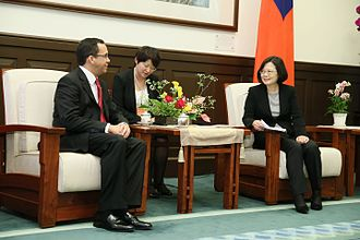 Foreign relations of the Dominican Republic - Foreign Minister Andrés Navarro and ROC President Tsai Ing-wen in Taiwan.