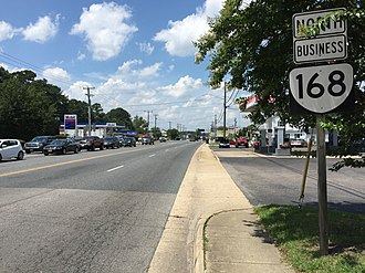 Virginia State Route 168 - View north along SR 168 Bus at SR 165
