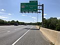2019-05-27 15 28 32 View west along the outer loop of the Capital Beltway (Interstate 495) at Exit 28B (Maryland State Route 650 South-New Hampshire Avenue South, Takoma Park) on the edge of Silver Spring and Hillandale in Montgomery County, Maryland.jpg