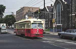 SEPTA Route 60 - The Route 60 trolley at the intersection of Allegheny Avenue and North Broad Street during May 1976.