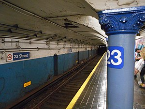 23rd Street station (PATH) - The New Jersey-bound platform at 23rd Street in August 2014.