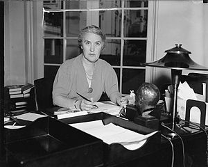 Marguerite LeHand - LeHand at her desk in the White House, c. 1935