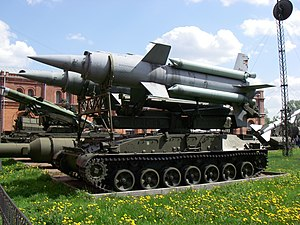 2P24 Transporter-Erector-Launcher with two 3M8 missiles of 2K1 surface-to-air missile complex «Krug» in Military-historical Museum of Artillery, Engineer and Signal Corps in Saint-Petersburg, Russia. Left view.jpg