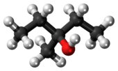 Ball-and-stick model of 3-methyl-3-pentanol
