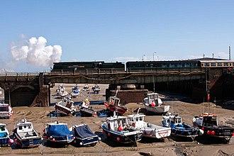 Folkestone Harbour - Image: 34067 Tangmere Folkestone Harbour Swing Bridge