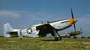 357th Fighter Group - North American P-51K Mustang Muddy, 44-11697, G4-K (foreground, assigned to 2nd Lt. James Gasser) and P-51D Butch Baby 44-14798, G4-V (background, 2nd Lt. Julian .H. Bertram). G4-V was formerly Master Mike, the mount of Major Joe Broadhead, 362 FS CO. Taken at RAF Steeple Morden in April 1945