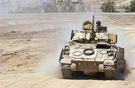 An M2A2 Bradley crew, from the 3rd Infantry Division, drive back to Forward Operating Base Warhorse after a mission near Baqubah, Iraq, May 2005 3rd Infantry Division M2A2.jpg